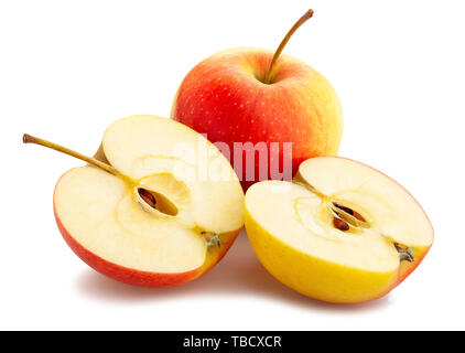 sliced red yellow apple path isolated on white - Stock Image