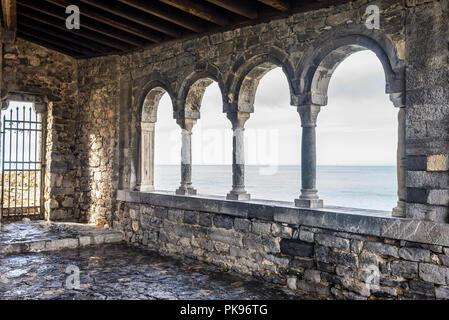 The loggia of San Pietro, Portovenere, Cinque Terre, Liguria, Italy - Stock Image