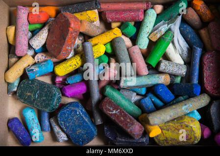Close-up of a box of chalks, crayons, Munich, Germany - Stock Image