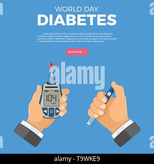 Control your Diabetes concept. World diabetes day. Hands holds blood glucose meter and insulin pen syringe. isolated vector illustration - Stock Image