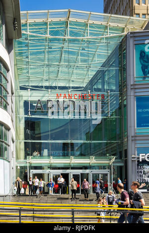 Entrance to the Arndale Centre on Corporation Street, Manchester, adjacent to Exchange Square. - Stock Image