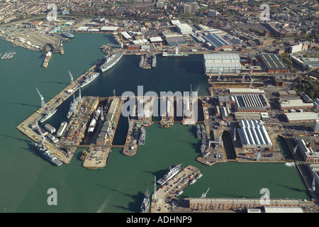 Aerial view of the Royal Navy Dockyards at Portsmouth Harbour, also known as Her Majesty's Naval Base (HMNB) Portsmouth - Stock Image