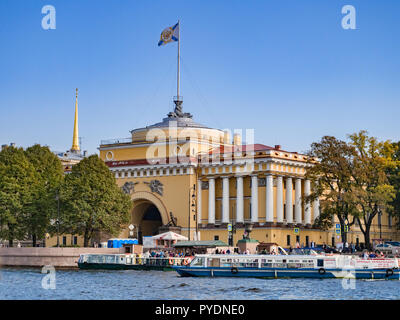 19 September 2018: St Petersburg, Russia - The Admiralty, headquarters of the Russian Navy, on the Neva Embankment on a sunny autumn day with clear bl - Stock Image