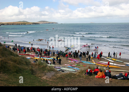Lifeguard competition St David's Whitesands beach Pembrokeshire - Stock Image