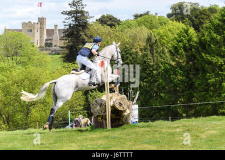 Rockingham Castle, Corby, UK. 21st May, 2017. Jack Ashworth and his horse Kafka clear a log obstacle with Rockingham - Stock Image
