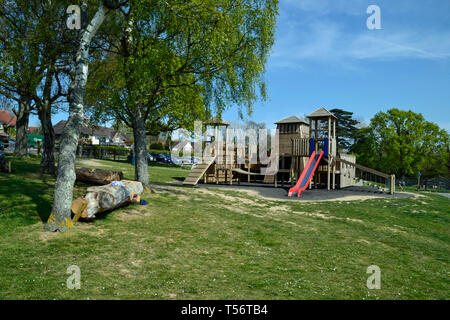 Castle play equipment in Battle Recreation Ground, Battle, East Sussex, UK - Stock Image