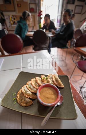 Empanadas & soup, La Canadelaria, Bogota, Colombia - Stock Image