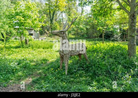 Wooden Deer, Tropical Butterfly House, Sheffield, Art - Stock Image