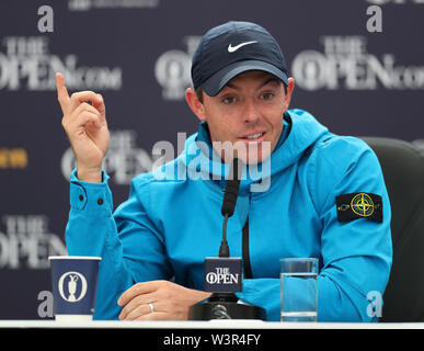 Portrush, County Antrim, Northern Ireland. 17th July 2019. The 148th Open Golf Championship, Royal Portrush Golf Club, Practice day ; Rory McIlroy (NIR) answers a question during his press conference interview Credit: Action Plus Sports Images/Alamy Live News - Stock Image