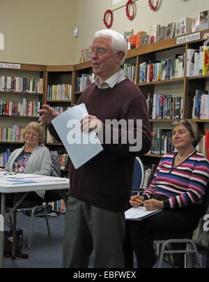 Grappenhall Community Library AGM 2014, John Ashby, Sheelagh Connolly, Sheila Wallace, Warrington, Cheshire WA4 - Stock Image