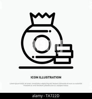Dollar, Bag, Money, American Line Icon Vector - Stock Image