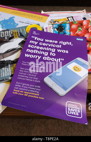A leaflet with advice for patients about Cervical Screening seen in an NHS local doctors surgery waiting room in Warwickshire, UK, On May 14, 2019. - Stock Image