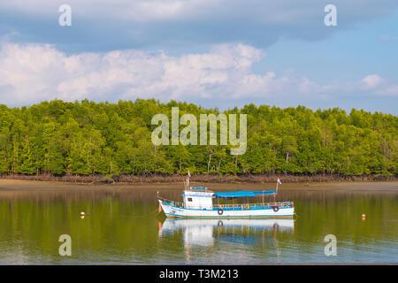 Boat, Maenam river, Krabi town, Thailand - Stock Image