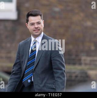 London, UK. 26th March 2019, James Brokenshire, MP PC, Communites Secretary, arrives at a Cabinet meeting at 10 Downing Street, London, UK. Credit: Ian Davidson/Alamy Live News - Stock Image