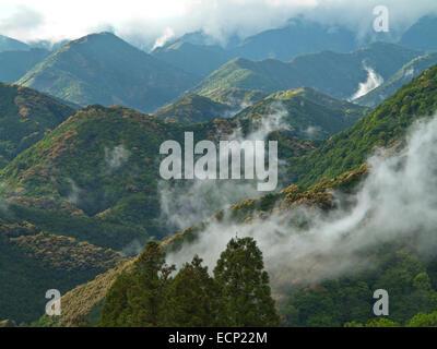 Kii Mountain Range, view at village of Takahara, on the Kumano Kodo Pilgrimage Route, Kii Peninsula, Wakayama Prefecture, - Stock Image