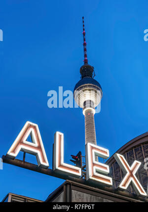 Alex sign, TV Tower at Alexanderplatz , railway station , Berlin, Germany - Stock Image