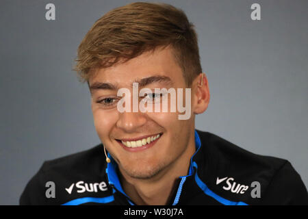 Silverstone, Northampton, UK. 11th July 2019. F1 Grand Prix of Great Britain, Driver arrivals day; ROKiT Williams Racing, George Russell during driver press conference Credit: Action Plus Sports Images/Alamy Live News - Stock Image