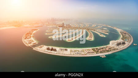 Aerial view of artificial palm island in Dubai. Panoramic view. - Stock Image