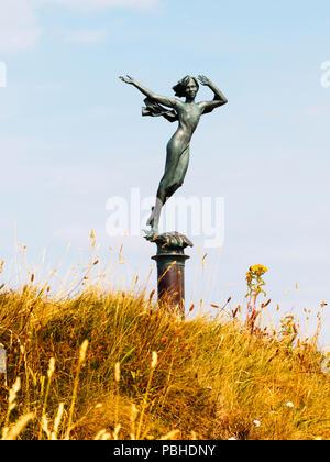Memorial statue of Ekaterine Frolov, a Russian student, on Capstone Hill, Ilfracombe, Devon, UK - Stock Image