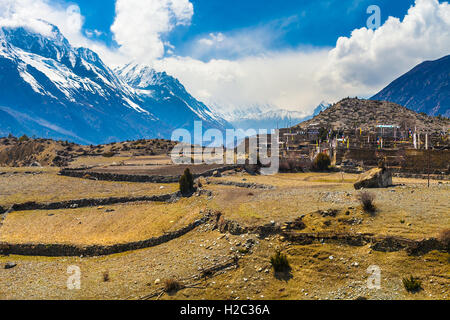 Landscape Snow Mountains Nature Nepal.Mountain Trekking Landscapes Background. Nobody photo.Asia Travel Horizontal - Stock Image