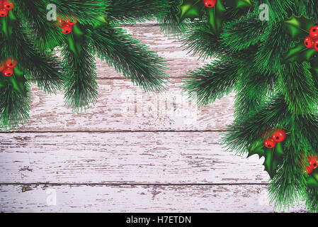 Christmas background, ornametns on white wood - Stock Image
