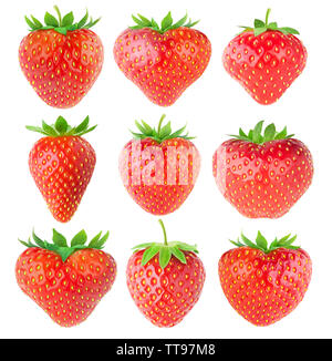 Isolated strawberries. Collection of strawberry fruits of various shapes isolated on white background with clipping path - Stock Image