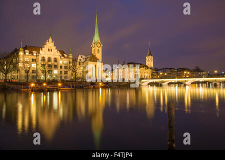 Zurich with Limmat in winter, - Stock Image