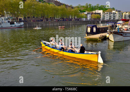 Rowing boats in Bristol, UK, harbour - Stock Image