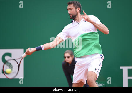 Roquebrune Cap Martin, France. 16th Apr, 2019. Martin Cilic (CRO) Tennis : Men's Singles 2nd Round match during Monte Carlo Masters at Monte Carlo Country Club in Roquebrune Cap Martin, France . Credit: Itaru Chiba/AFLO/Alamy Live News - Stock Image
