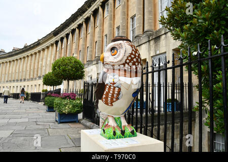 One of the Owls of Bath on the Royal Crescent  in Bath during 2018 event.All of the Owls were sponsored and auctioned at the end of the event with  pr - Stock Image