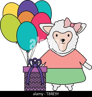 lamb with gift box and balloon helium in birthday party vector illustration design - Stock Image