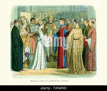 Royal marriage of King Henry V of England and Princess Katherine of France on the 2 June 1420 - Stock Image