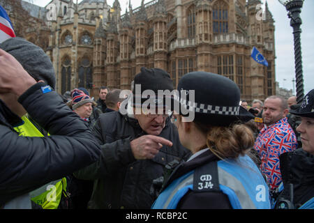 London, United Kingdom. 15 January 2019. A Protester argues with police officer alongside other protesters that have gathered outside of Houses of Parliament ahead of the critical Brexit vote. Credit: Peter Manning/Alamy Live News - Stock Image