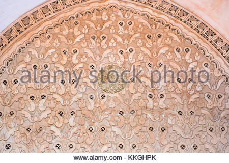 Morocco, Marrakech-Safi (Marrakesh-Tensift-El Haouz) region, Marrakesh. Carved plaster wall, Ben Youssef Madrasa, - Stock Image