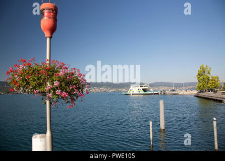 Meilen, Zurich, Switzerland. 13th Oct, 2018. September 12, 2018. A ferry prepares to leave the pier in Meilen on the Zurichsee which is covered with colorful geraniums in bloom on a sunny fall day. Credit: Ralph Lauer/ZUMA Wire/Alamy Live News - Stock Image