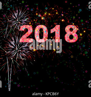 Brightly colored fireworks and star shapes against a night sky celebrating Happy New Years Eve 2018 red numbers - Stock Image