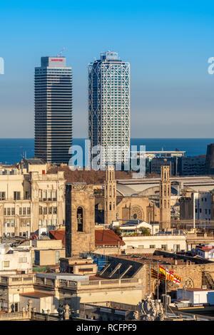 Gothic Quarter skyline, Barcelona, Catalonia, Spain - Stock Image