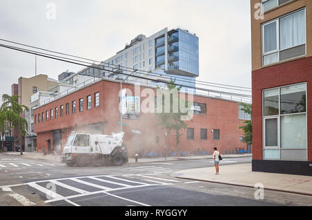 New York, USA - July 04, 2018: New York City Sanitation Department vehicle on 5th Street in Long Island City, Queens. - Stock Image