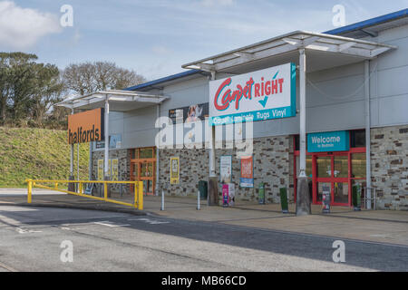 CarpetRight is possibly facing store closures in UK - exterior of Bodmin Retail Park CarpetRight store before potential closures. Out of town shopping - Stock Image