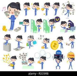 A set of women in sportswear with concerning money and economy.There are also actions on success and failure.It's vector art so it's easy to edit. - Stock Image