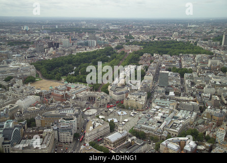 Aerial view of Trafalgar Square, Admiralty Arch, St James's Park, Buckingham Palace, Green Park & Horse Guards Parade in London - Stock Image