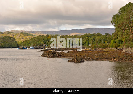 View of Caha Ridge above Glengarriff Harbour from Bamboo Park Shore, Glengarriff - Stock Image