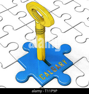 Calgary Real Estate Key Shows Property For Sale Or Rent In Alberta. Investment Agents Or Brokers Symbol 3d Illustration - Stock Image