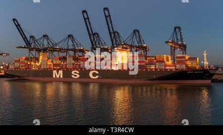 Felixstowe, Suffolk, England, UK - September 26, 2018: Container ships in Felixstowe harbour - Stock Image