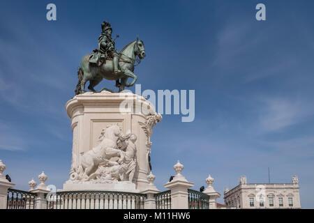 King Jose Monument, a city landmark in Praça do Comércio (Commerce Square), Lisbon, Portugal - Stock Image