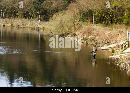 Middle-aged man fly--fishing at Turton and Entwistle reservoir, Lancashire. The reservoir supplies drinking water - Stock Image