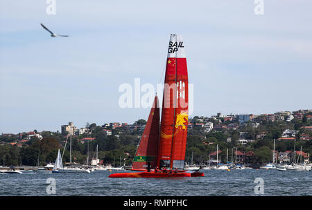 Sydney, Australia. 16th Feb, 2019. Chinese SailGP team competes during the first SailGP event at the harbor in Sydney, Australia, Feb. 16, 2019. Credit: Bai Xuefei/Xinhua/Alamy Live News - Stock Image