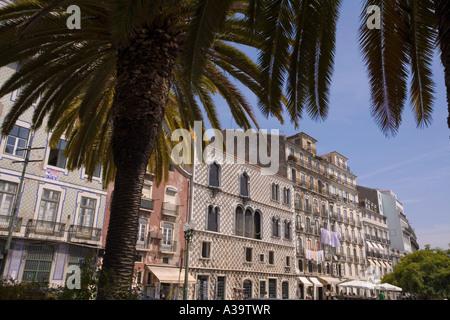 Portugal Lisbon Alfama Casa dos Bicos crchitect Afonso de Albuquerque palm tree - Stock Image