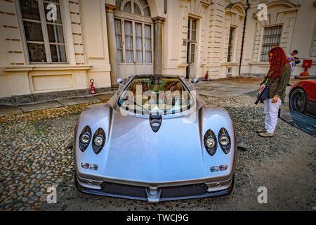 Piedmont Turin - Turin auto show 2019  - Valentino park - Valentino castle  - Pagani - Zonda C12 - the first approved carbon fiber car - Stock Image