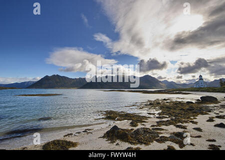 Gimsøy church is situated near the beach.  Lofoten, Norway. - Stock Image